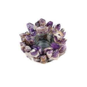 Rough amethyst Candle holder