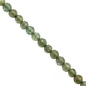 15cts Green Apatite Micro Faceted Round Approx 3mm, 30cm Strand.