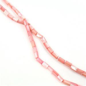 CLERANCE! 2x Dyed Baby Pink Shell Tubes Approx 5x8mm, 38cm Strand