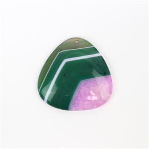 70cts Green and Fuchsia Quartz Agate Triangle Pendant  Approx 40mm,1pk
