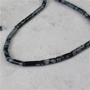 40cts Snowflake Obsidian Tubes Approx 4x13mm, 38cm strand