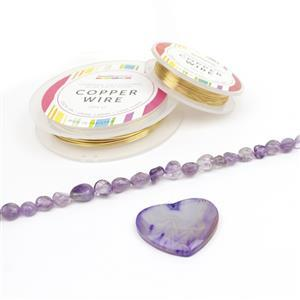 Heart of Gold: 50cts Purple Stripe Agate Heart Pendant, 115cts Amethyst & Wire
