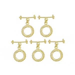 Gold Plated Base Metal Beaded Toggle Clasp, Approx. 25x19mm (5pk)
