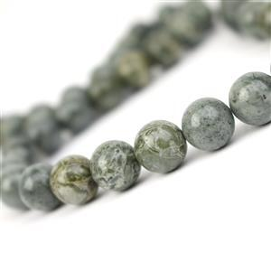 290cts African Green Brecciated Jasper Plain Rounds Approx 10mm, 38cm strand
