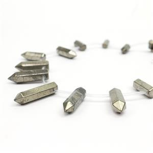 330cts Pyrite Pencils Approx 15x6mm-32x9mm, 17pcs/strand