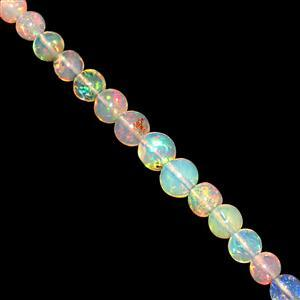 6cts Ethiopian Opal Smooth Rounds Approx 3-5mm 10cm Strand