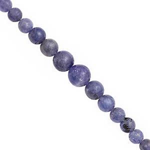 105cts Tanzanite Graduated Smooth Round Approx 3 to 9.50mm, 38cm Strand