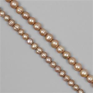 Champagne Freshwater Cultured Pearl Rounds Duo Approx 7-9mm & 10-11mm