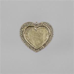 ICE Resin® Antique Bronze Large Heart Milan Bezel with Closed Back Approx ID 35x29mm