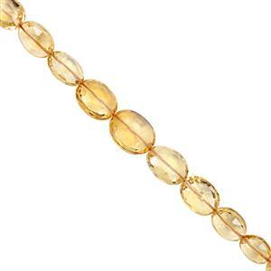 45cts Rio Grande Citrine Straight Drill Graduated Faceted Oval Approx 6x5 to 12x9.5mm, 21cm Strand with Spacers