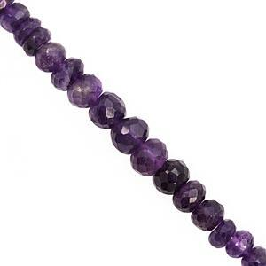110cts Amethyst Graduated Faceted Rondelle Approx 6x2 to 12x7mm, 20cm Strand