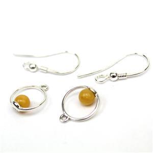 Baltic Butterscotch Amber Sterling Silver Circle Earrings, Approx. 11x14mm inc. shepherd hooks (2pcs)