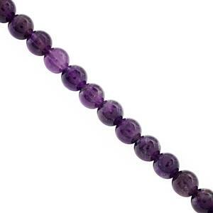 74cts Amethyst Smooth Round Approx 6 to 6.50mm, 28cm Strand