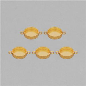 Gold Plated Copper Textured Round Bezel Connector ID - 20mm (5pcs/pk)
