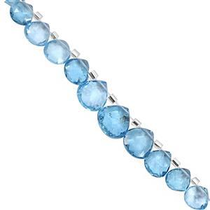 25cts Swiss Blue Topaz Top Side Drill Faceted Heart Approx 5 to 10mm, 10cm Strand with Spacers