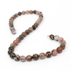 210cts Rhodonite Faceted Rounds Approx 8mm, 38cm Strand