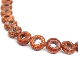 40cts Golden Goldstone Donut Fancy 10mm 18mm strand, Man-Made
