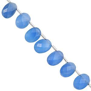 85cts Blue Chalcedony Faceted Oval Approx 10.5x8 to 14x10mm, 20cm Strand with Spacers