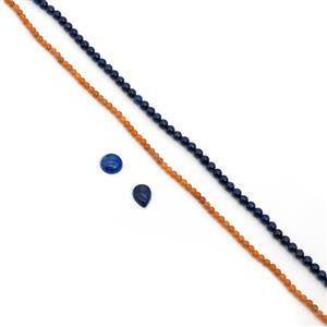 110/45cts Lapis Lazuli/Red Aventurine Plain Rounds Approx 6/4mm, 38cm Strand and 8/6cts Round/Pear Lapis Lazuli Cabochon Approx 14mm/16x12mm