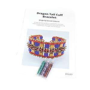 Triangle Trio; 3x CzechMates Triangle 6mm & Dragon Tail Cuff Bracelet by Hannah Osborne