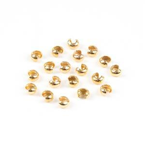 Gold Plated Sterling Silver Crimp Bead Covers - 3mm 20pcs approx.