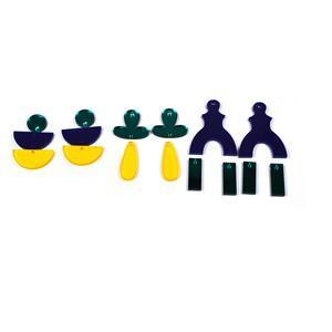 Jade: Acrylic Abstract Earrings Kit Inc x 3 Earring Designs (Jade mirror, Navy Blue & Saffron Yellow Frost)