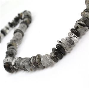 280cts Black Rutile Quartz Centre Drilled Slices Approx 4x7- 8x13mm, 38cm Strand