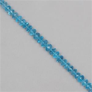 50cts Swiss Blue Topaz Graduated Faceted Rondelles Approx 4x2 to 8x3mm, 11cm Strand.