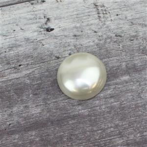 White Shell Pearl Round Cabochon 31mm single piece