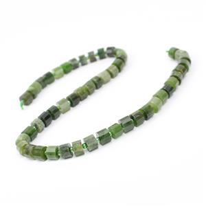 210cts Canadian Nephrite Faceted Cylinders Approx 8x5mm, 38cm Strand