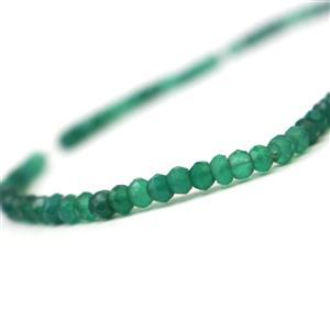 35cts Green Onyx Faceted Rondelles Approx 3-5mm, 33cm Strand