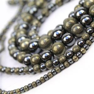 1741cts Pyrite & Haematite Plain Round Approx 4 to12mm, 38cm 2 Tone Strand (set of 5)