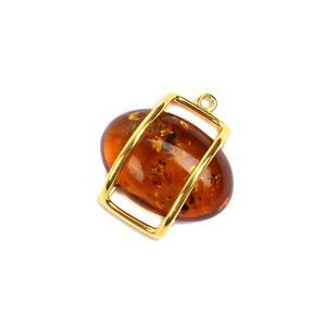 Baltic Cognac Amber Gold Plated Sterling Silver Floating Pendant Approx 23x22mm