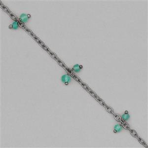 1m Black Plated Brass Cluster Chain Inc. 8cts Green Onyx Faceted Rondelles Approx 3x2mm