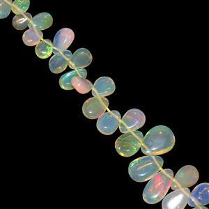 12cts Ethiopian Opal Top Side Drill Plain Pear Approx 4x3 to 8x5mm, 10cm Strand
