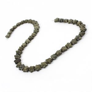 180cts Pyrite Puffy Stars Approx 10.5mm, Approx 38cm strand