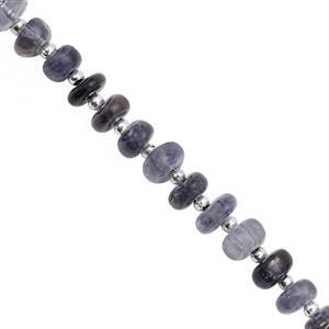 30cts Iolite Graduated Smooth Rondelles Approx 4x2 to 4x3mm, 18cm Strand with Spacers