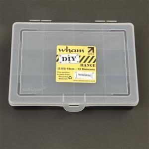 2.03 Black/Clear Organiser Box 19cm 12 Divisions (19x14.5x4cm)