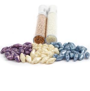 Neopolitan; Bobbi Beads by Mark Smith 6x25pcs, Miyuki 2x 11/0's