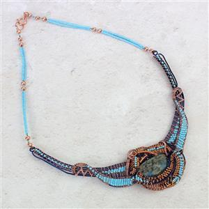 Blue Mountain:K2 Jasper cabochons,100m 0.25mm copper wire & 1.0mm blue wire & 0.4mm copper