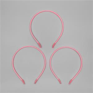 Stainless Steel Light Pink Satin Cord Tiara Bands (3pcs/pk)