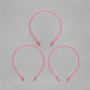 Stainless Steel Light Pink Satin Cord Tiara Bands (3pcs/pk)