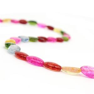90cts Dyed Multi-Colour Quartz Puffy Pears Approx 12x8mm, 38cm strand