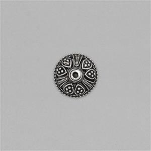 925 Sterling Silver Oxidised Vintage Bali Bead Approx 17x16mm