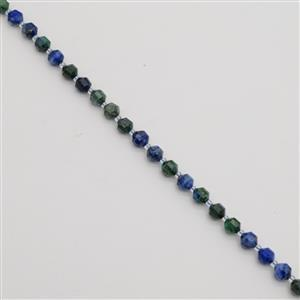 130cts Dyed Blue & Green Lapis Lazuli Faceted Satellite Beads Approx 7x8mm, 38cm Strand