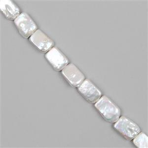 White Freshwater Cultured Pearl Rectangles Approx 16x11mm