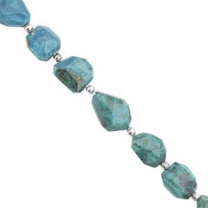 65cts Chrysocolla Faceted Tumble Approx 7x6 to 12.5x12.5mm, 17cm Strand with Spacers