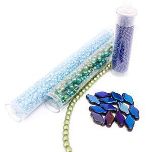 Mosaic Bracelet Agean Sea; Navette Beads, Fire Polish Beads, Miyuki 6/0, 8/0 & 11/0's