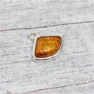925 Silver Baltic Cognac Amber Fancy Cabochon Charm Approx12x13mm