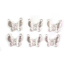 Silver Plated Base Metal Butterfly Pendants, Approx 20x17mm (6pcs)